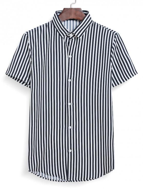 affordable Striped Button Down Shirt - BLACK 3XL