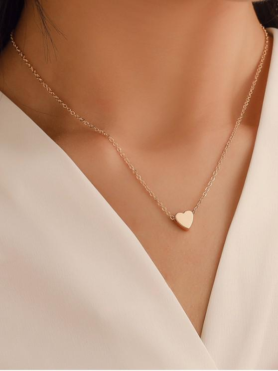 Heart Collarbone Chain Necklace - ذهب
