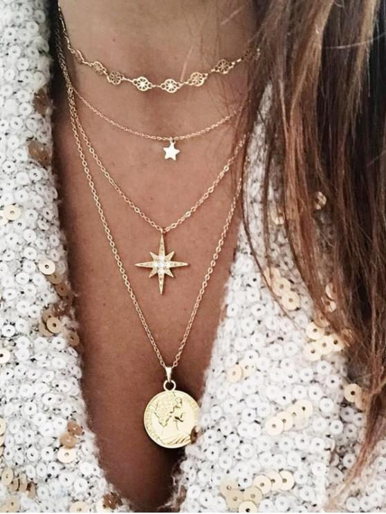 women Multilayered Star Portrait Pendant Necklace - GOLD