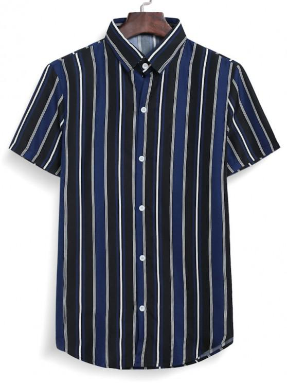 buy Stripes Casual Button Down Shirt - MIDNIGHT BLUE 3XL