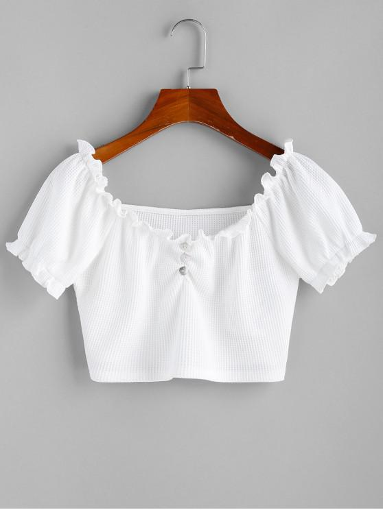 shop ZAFUL Puff Sleeve Ruffle Crop Top - WHITE S