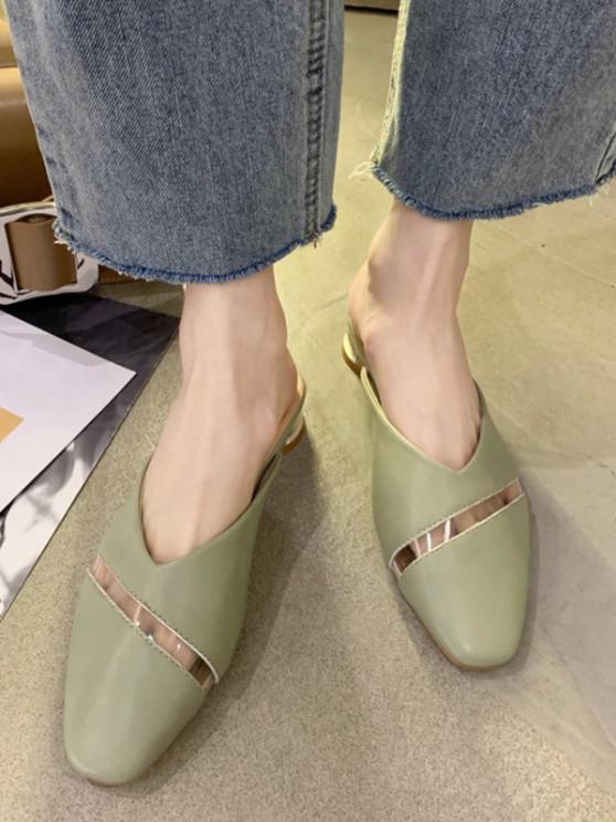 buy Vinyl Stripe Panel Low Heel Half Shoes - GREEN EU 39