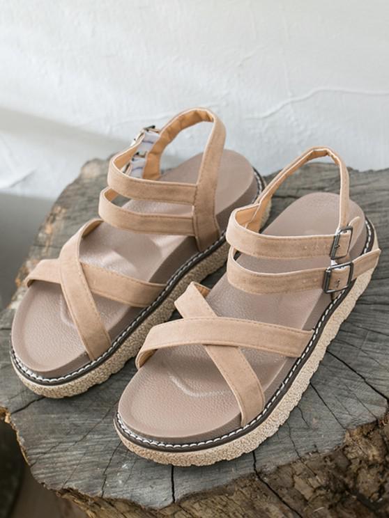 Dual Ankle Strap Platform Sandals - كاكي الاتحاد الأوروبي 39