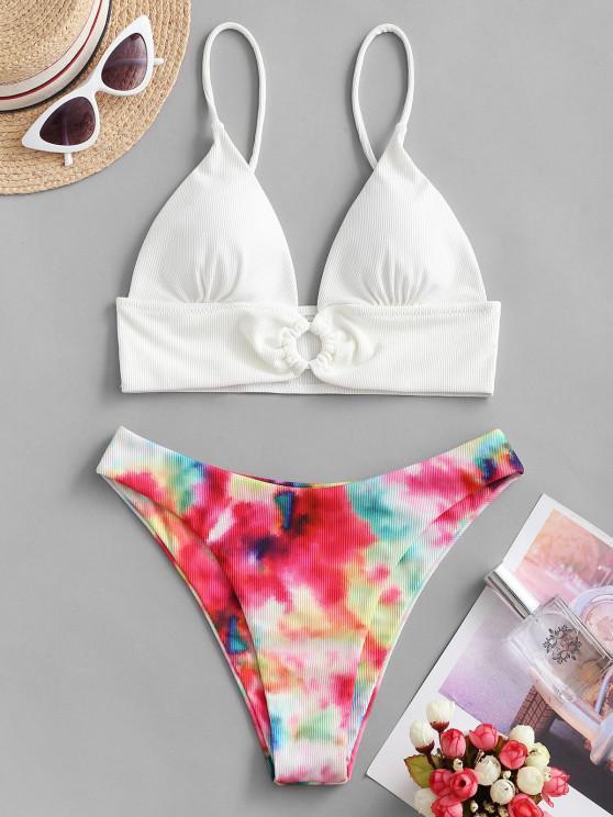 ZAFUL Ring Krawattenfärbender Gerippte Bikini Badebekleidung - Weiß S