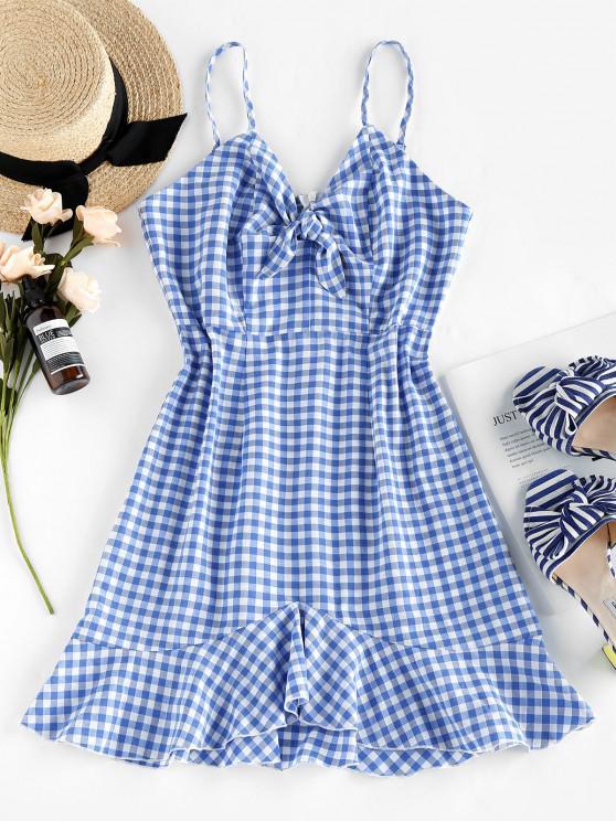 best ZAFUL Gingham Tied Flounce Hem Cami Dress - LIGHT SKY BLUE L