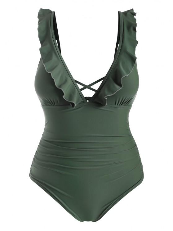 unique ZAFUL Plus Size Ruffle Ruched One-piece Swimsuit - CAMOUFLAGE GREEN 2X