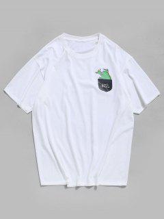 Mock Pocket Graphic Casual Crew Neck Tee - White 3xl