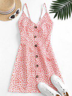 Button Up Tie Back Ditsy Floral Dress - Red M