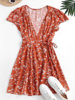 Mini Vestido Envolvente Floral - Castaño Rojo S