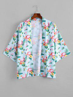 Flamingo Tropical Print Kimono Cardigan - Light Blue L