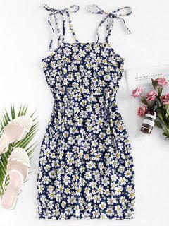 ZAFUL Flower Print Tie Shoulder Bodycon Dress - Deep Blue S