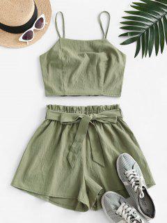 ZAFUL Smocked Back Belted Paperbag Shorts Set - Camouflage Green M