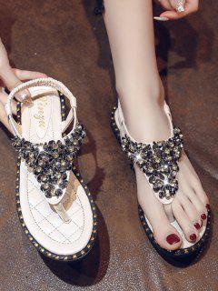 Rhinestone Elastic T-Strap Clip Toe Flat Sandals - Beige Eu 38