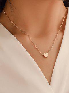 Heart Collarbone Chain Necklace - Gold