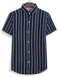Stripes Casual Button Down Shirt - Midnight Blue Xl