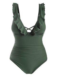 ZAFUL Plus Size Ruffle Ruched One-piece Swimsuit - Camouflage Green 1x