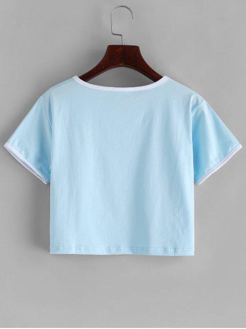 文字柄配管クロップTシャツ - ライトブルー M Mobile