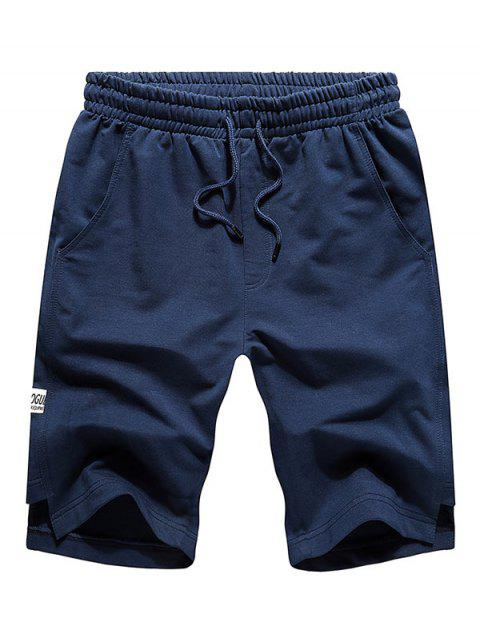 new Solid Cut Hem Drawstring Casual Shorts - CADETBLUE 2XL Mobile