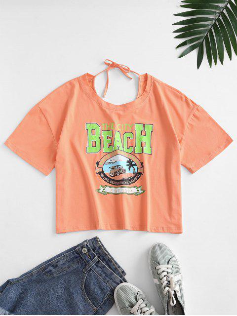 Tie Back Auto Grafik T-Shirt - Leichter Salm M Mobile