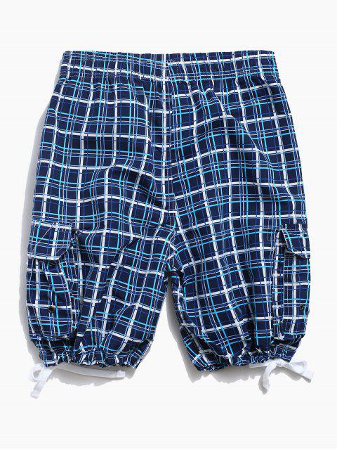 buy Plaid Drawstring Shorts with Flap Pocket - BLUE XL Mobile