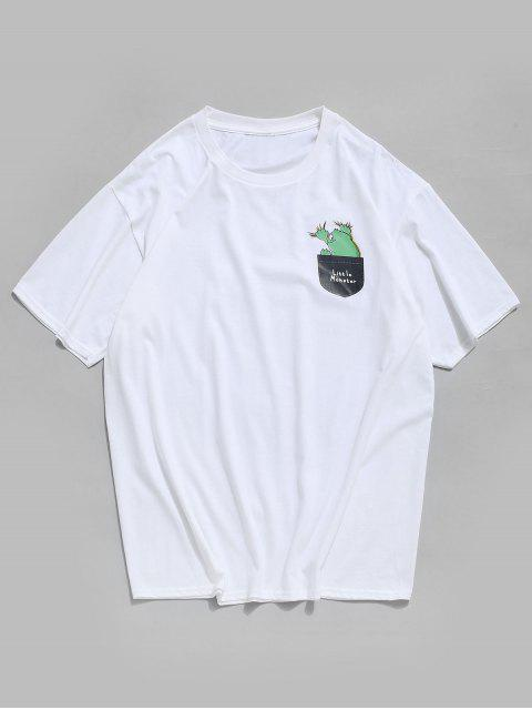Maglietta Casuale Grafica a Girocollo con Tasca Frontale - Bianca 3XL Mobile