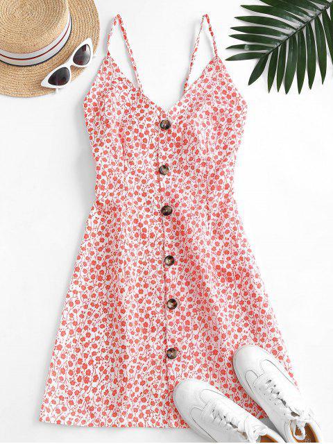 Vestido Floral con Botones y Nudo en Espalda - Rojo M Mobile