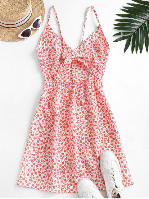 latest Button Up Tie Back Ditsy Floral Dress - RED S Mobile