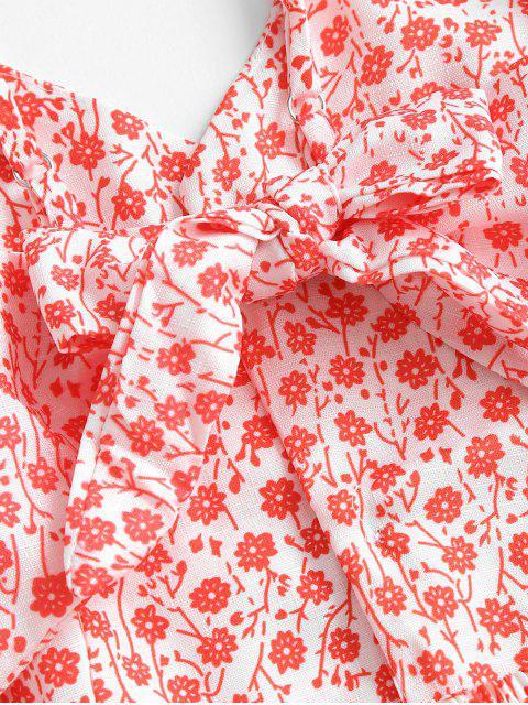 Robe Boutonnée Fleurie Nouée au Dos - Rouge XL Mobile