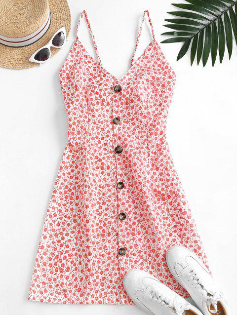 ladies Button Up Tie Back Ditsy Floral Dress - RED L Mobile