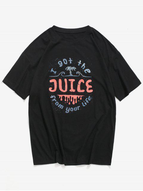 Camiseta com Estampa Gráfica Gola Redonda Mangas Curtas - Preto M Mobile