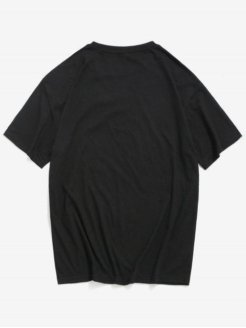 T-Shirt Casuale Grafica a Succo con Maniche Corte - Nero XL Mobile
