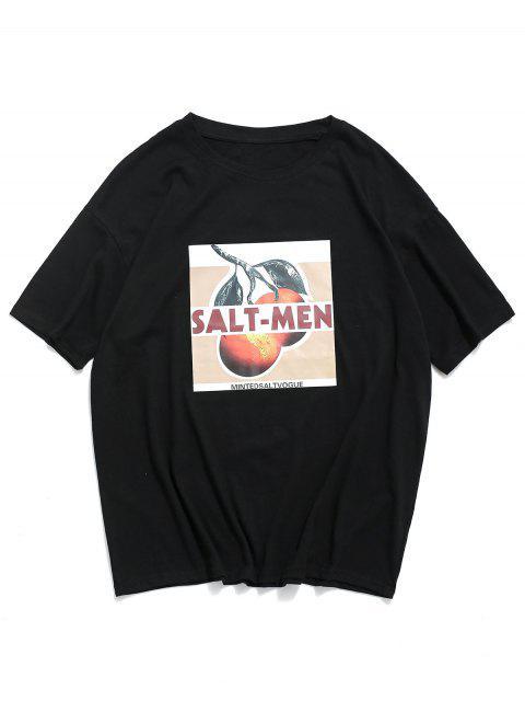 T-Shirt Casuale Grafica a Lettere - Nero 3XL Mobile