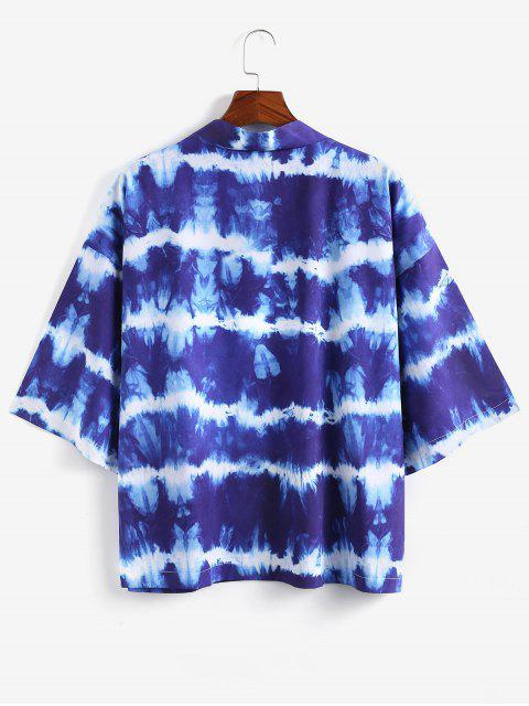 fancy Open Front Tie Dye Print Kimono Cardigan - SILK BLUE 2XL Mobile