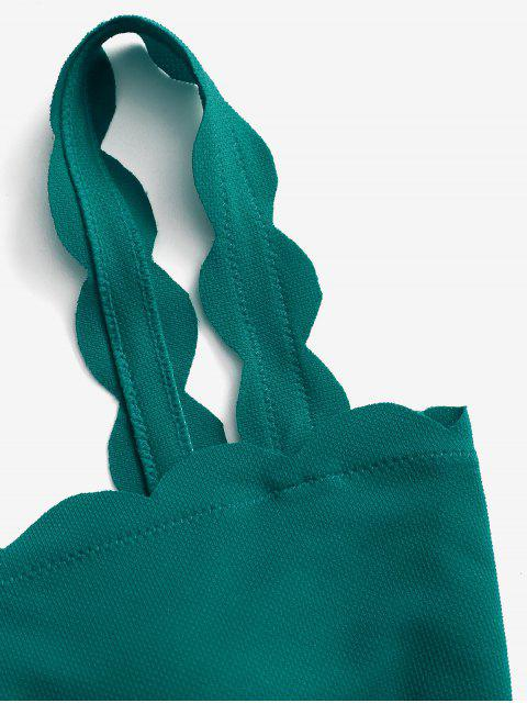 affordable ZAFUL Scalloped Textured Bikini Top - GREENISH BLUE S Mobile