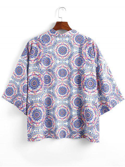 sale Bohemian Print Open Front Kimono Cardigan - MULTI-A L Mobile