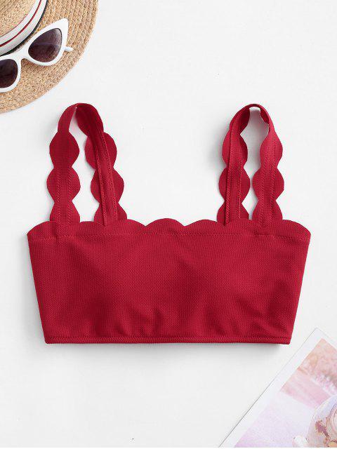 womens ZAFUL Scalloped Textured Bikini Top - LAVA RED L Mobile
