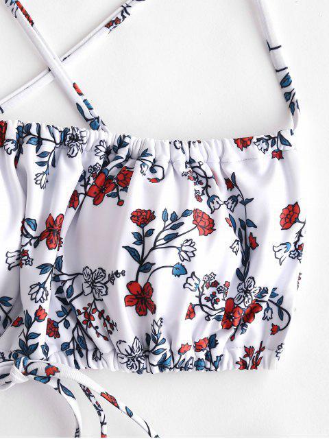 ZAFUL工場では、十字模様ハイカットビキニの水着を印刷します - 白 S Mobile