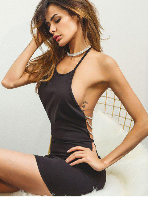women Halter Chains Backless Bodycon Dress - BLACK S Mobile