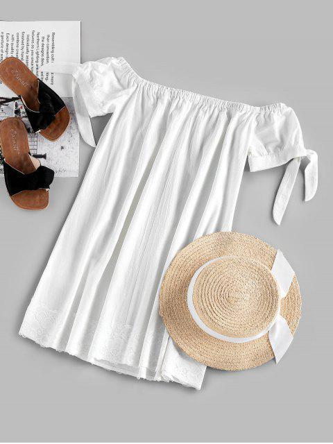 outfit ZAFUL Off Shoulder Knotted Lace Panel Mini Dress - WHITE L Mobile