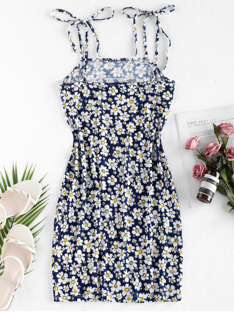sale ZAFUL Flower Print Tie Shoulder Bodycon Dress - DEEP BLUE S Mobile