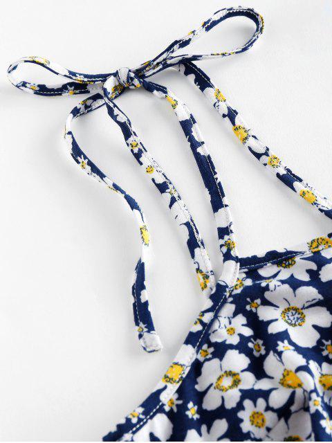 ZAFUL Vestido Ajustado con Hombro con Lazo de Flores - Azul Profundo L Mobile