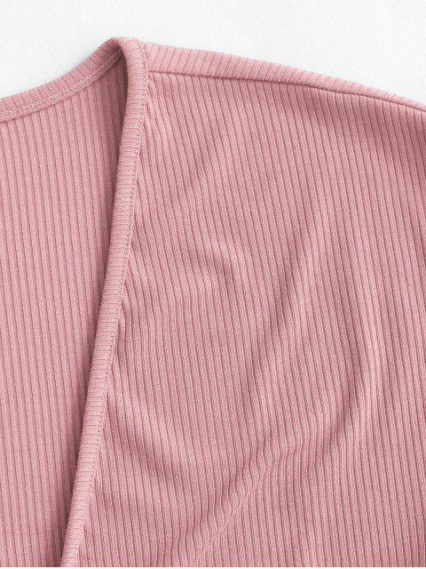 Top Corto di ZAFUL a Costine con Nodo Frontale - Rosa XL Mobile