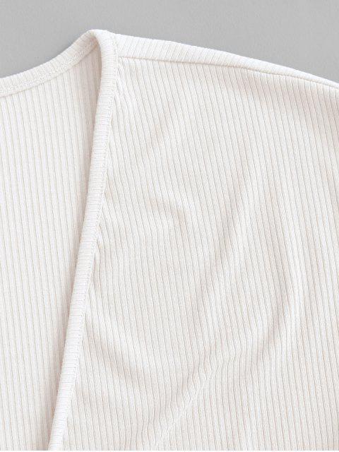 ZAFUL Haut Court Côtelé Noué en Avant - Blanc XL Mobile