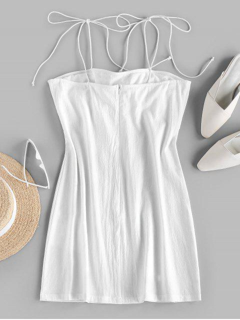 chic ZAFUL Tie Shoulder Knotted Cami Mini Dress - WHITE M Mobile