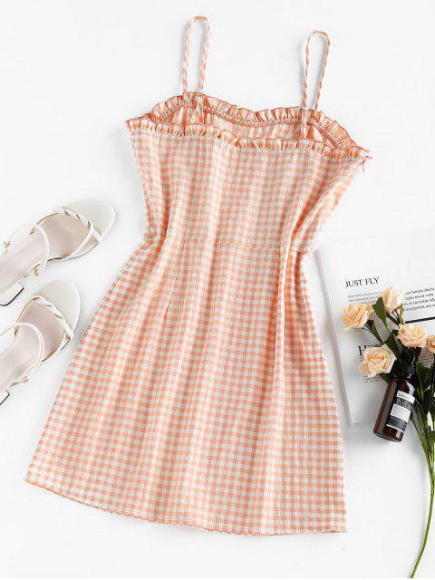 lady ZAFUL Gingham Ruffled Mini Cami Dress - ORANGE PINK L Mobile