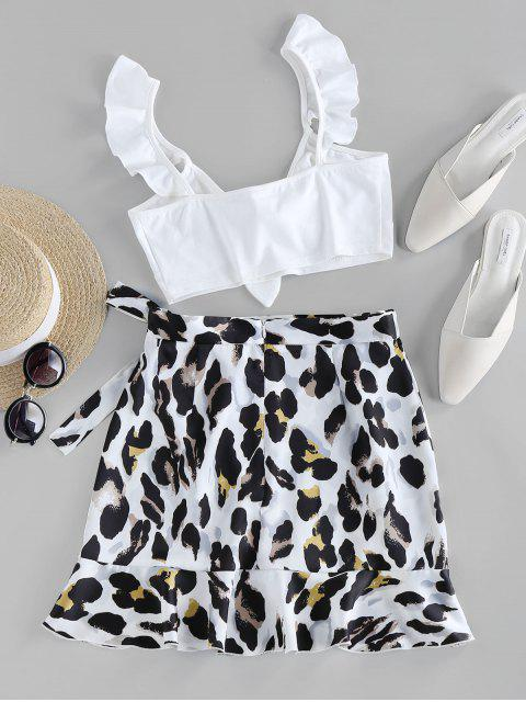 outfit ZAFUL Leopard Ruffle Knot Two Piece Set - WHITE L Mobile