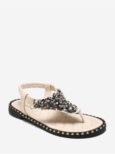 hot Rhinestone Elastic T-Strap Clip Toe Flat Sandals - BEIGE EU 38 Mobile