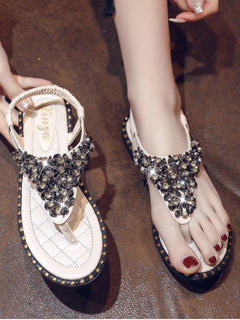 best Rhinestone Elastic T-Strap Clip Toe Flat Sandals - BEIGE EU 41 Mobile