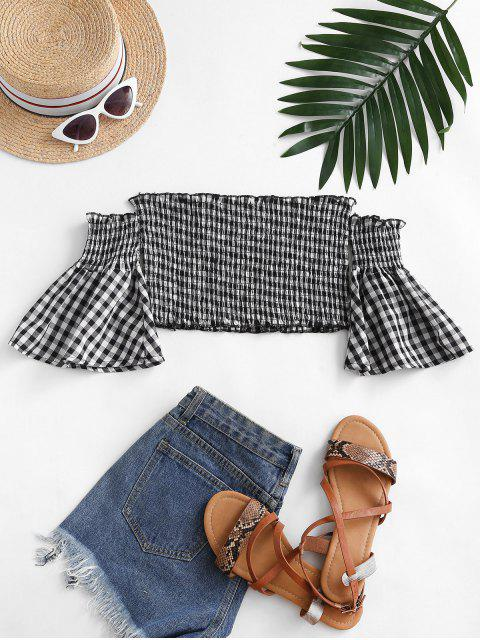 online Smocked Plaid Off Shoulder Blouse - BLACK S Mobile
