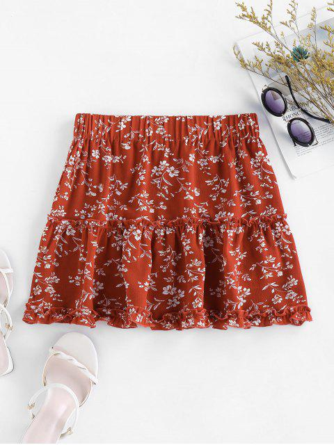 latest ZAFUL Ditsy Print Ruffle Mini Skirt - CHESTNUT RED XL Mobile